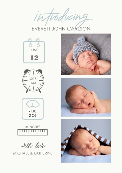 Baby Boy Announcements 5x7 Cards, Premium Cardstock 120lb with Elegant Corners, Card & Stationery -Baby Icons Blue