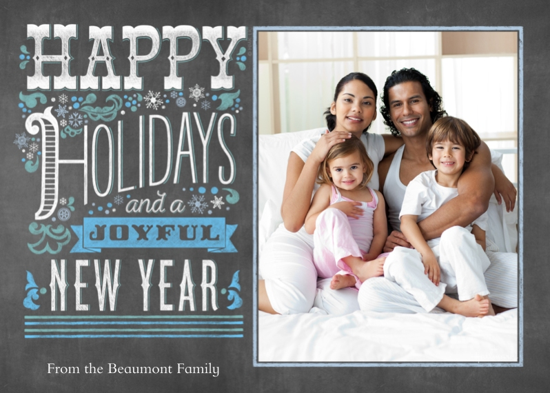 Holiday Photo Cards 5x7 Cards, Premium Cardstock 120lb with Rounded Corners, Card & Stationery -Happy Holidays & Joyful New Year