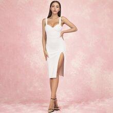 Lucra Split Thigh Solid Bustier Dress