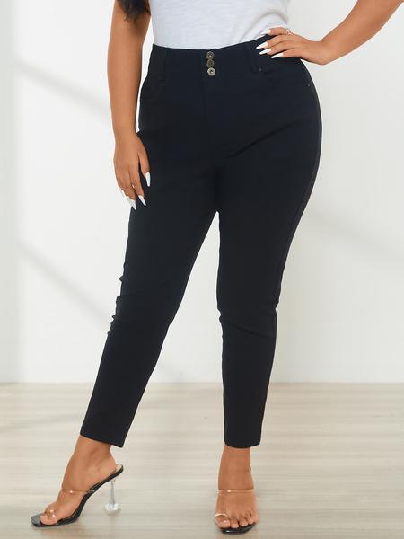 YOINS Plus Size Black Pocket Design Pants