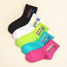 5 Paare Kleinkind Kinder Socken mit Buchstaben Grafik
