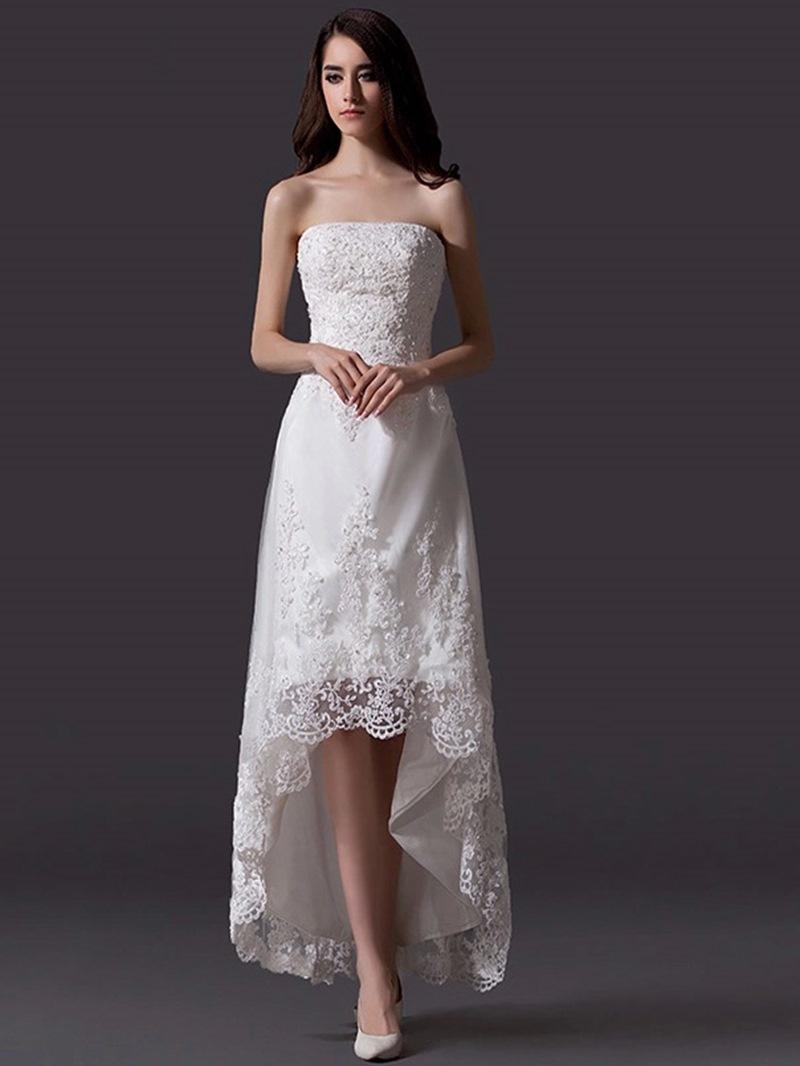 Ericdress Strapless Appliques High Low Beach Wedding Dress
