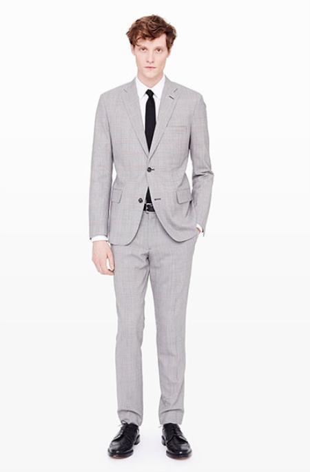 Mens Grey Suit White Shirt Black Tie Combination Package Deal