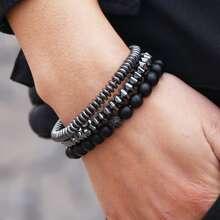 3 Stuecke Maenner Armband mit Perlen