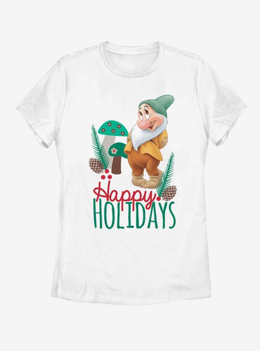 Disney Snow White Bashful Christmas Womens T-Shirt