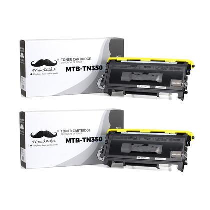 Compatible Brother TN350 cartouche de toner noire de Moustache, 2 paquet