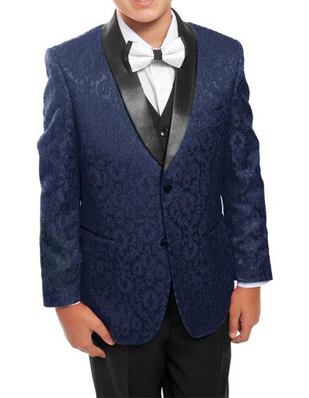 Kids ~ Children ~ Boys ~ Toddler Tuxedo Vested Suit Navy/Black