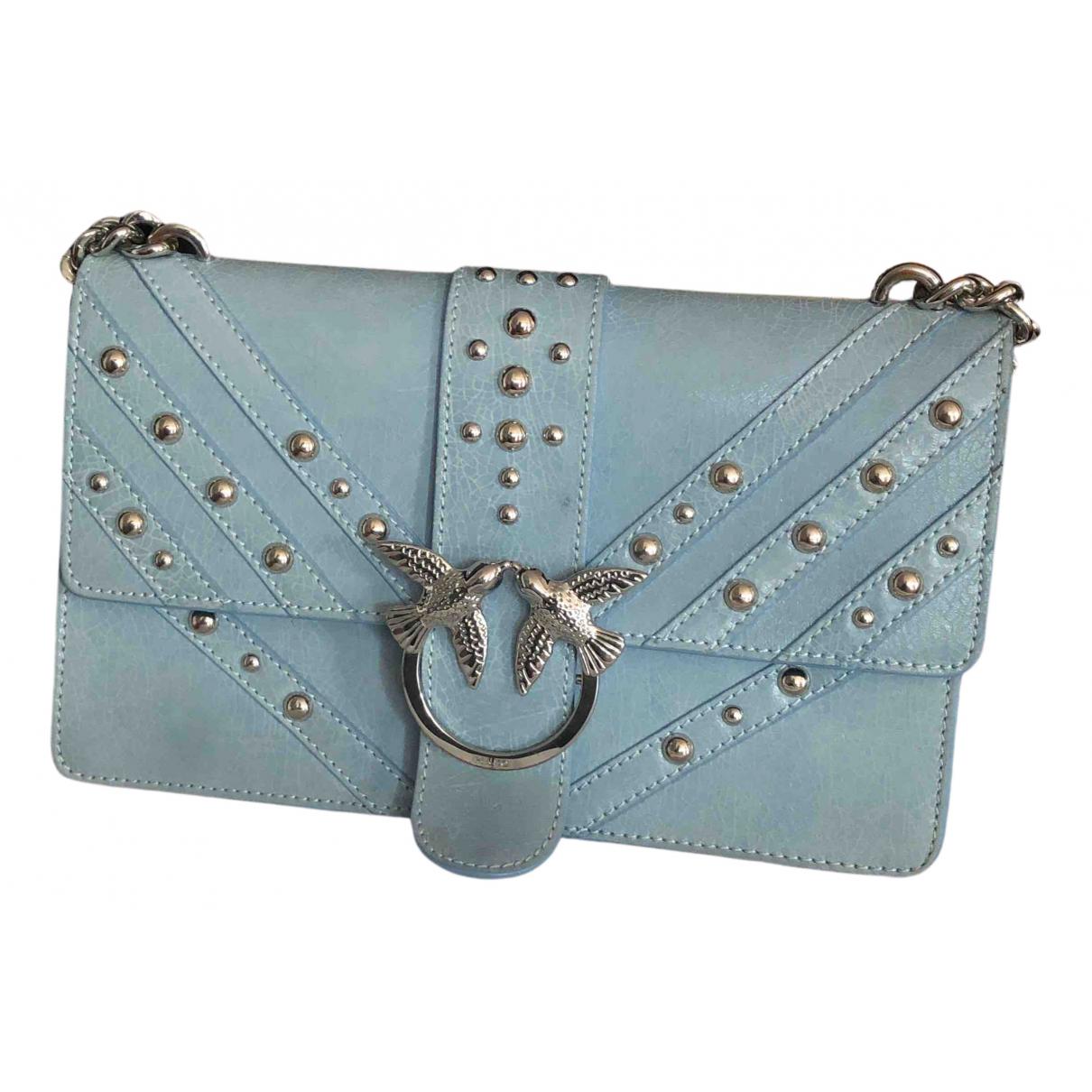Pinko Love Bag Blue Leather handbag for Women N