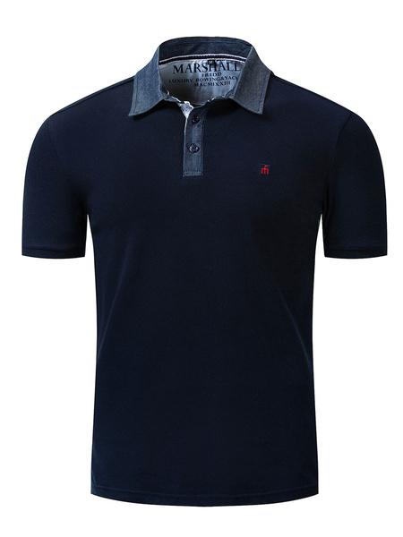 Milanoo Polo para hombre Cuello vuelto Mangas cortas Logotipos Regular Fit Azul marino oscuro Moda Polo