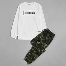 Men Letter Graphic Pullover & Camo Drawstring Sweatpants Set