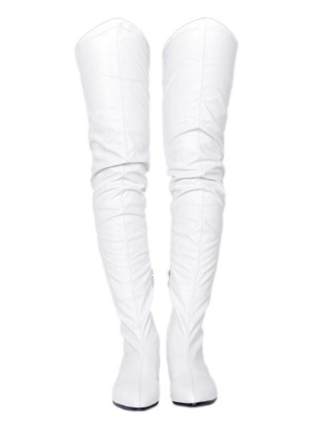 Milanoo Botas altas mujer blanco botas altas negras de PU de tacon de puppy de puntera puntiaguada 3cm Color liso Invierno Cremallera estilo street we