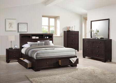 Madison II Collection 19560QSET 5 PC Bedroom Set with Queen Size Bed + Dresser + Mirror + Chest + Nightstand in Espresso
