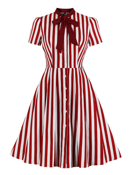 Milanoo Red Retro Dress 1950s Stand Collar Bows Stripes Layered Short Sleeves Printed Swing Dress