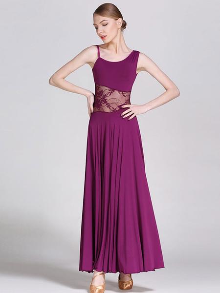 Milanoo Ballroom Dance Costumes Silk Lace Dancer Dress Women Dance Wear