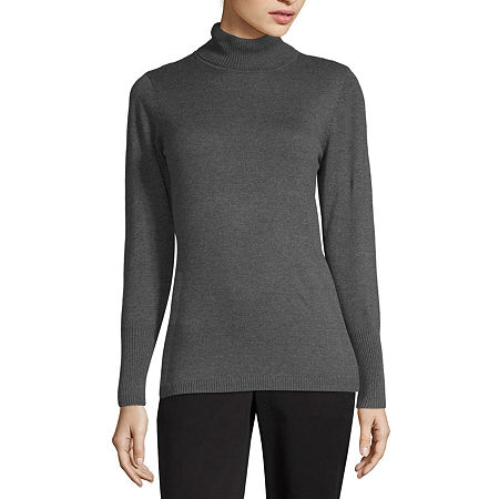 Worthington Womens Turtleneck Long Sleeve Pullover Sweater, Small , Gray
