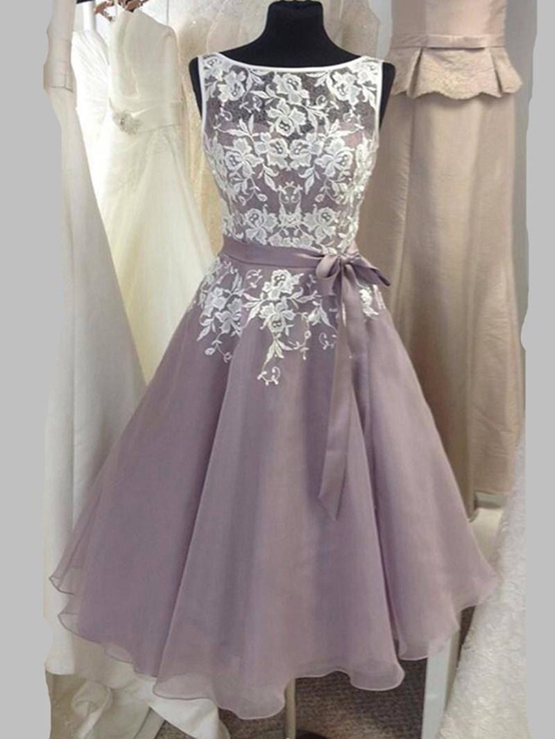 Ericdress Appliques A Line Tea Length Bridesmaid Dress