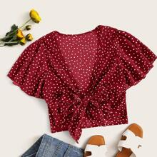 Plus Polka Dot Knot Front Top