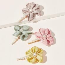 1pc Random Faux Pearl Floral Hair Clip