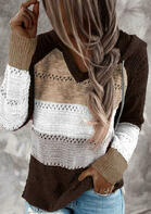 Color Block Hollow Out Drawstring Knitted Sweater - Dark Coffee