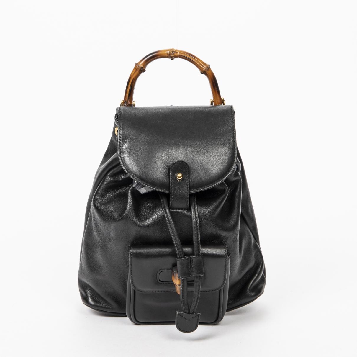 Gucci - Sac a dos Bamboo pour femme en cuir - noir