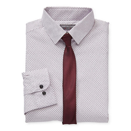 Van Heusen Little & Big Boys Point Collar Long Sleeve Stretch Shirt + Tie Set, Large (14-16) , White