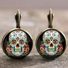 Halloween Skull Cross Floral Earrings