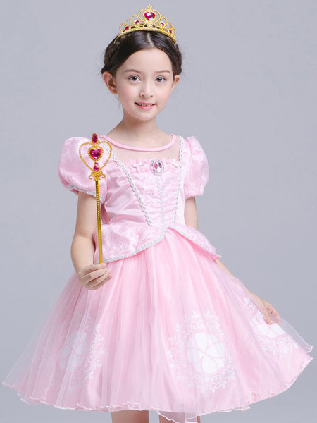 Milanoo Sophia Cosplay Costume Halloween Pink Organza Little Girls Dresses Child Costumes Outfit