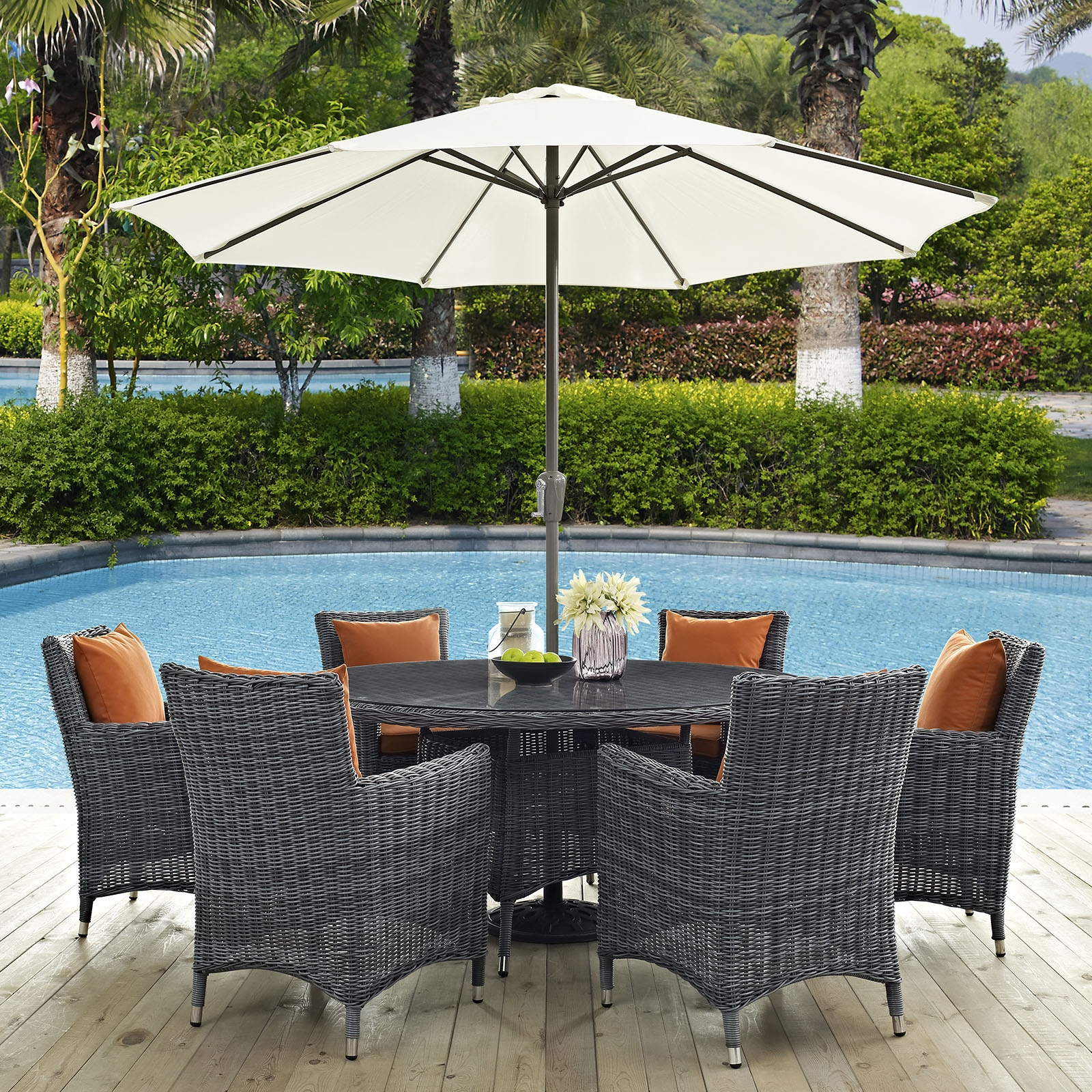 Summon 8 Piece Outdoor Patio Sunbrella® Dining Set in Canvas Tuscan
