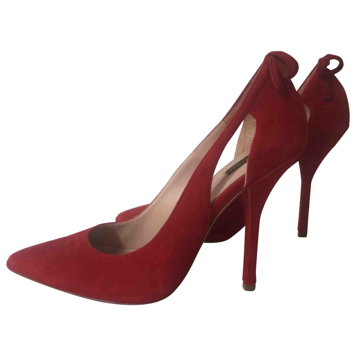 - Escarpins   pour femme en suede - rouge