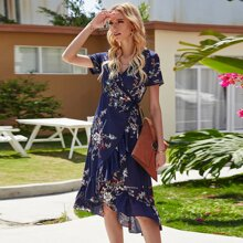 Floral Print Knot Side Wrap Dress