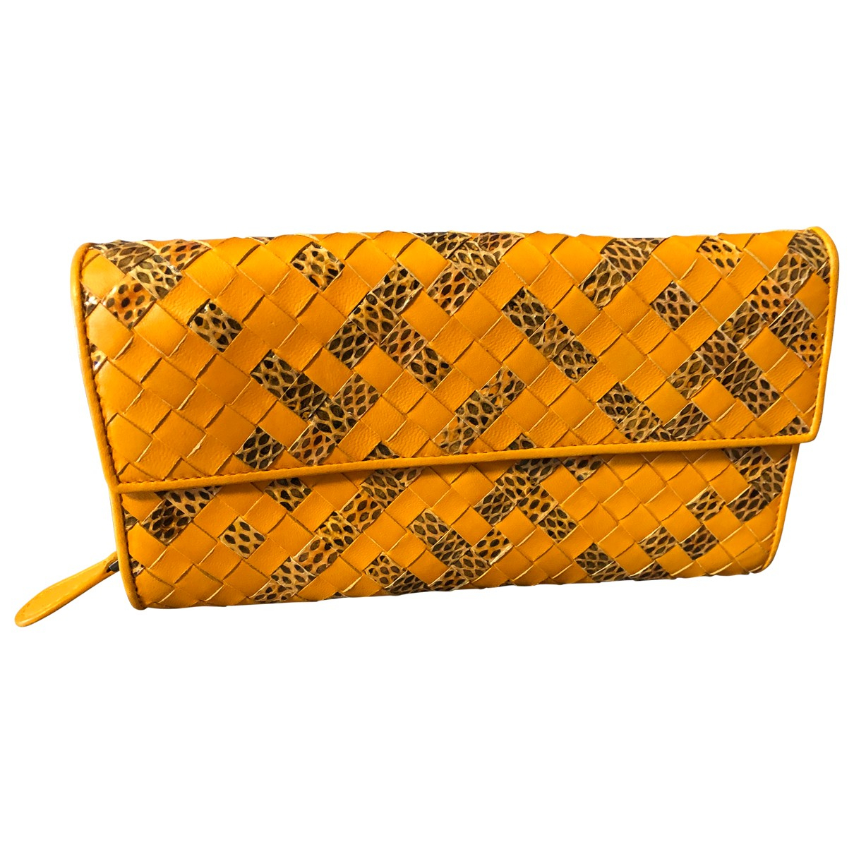 Bottega Veneta - Portefeuille Intrecciato pour femme en cuir - jaune