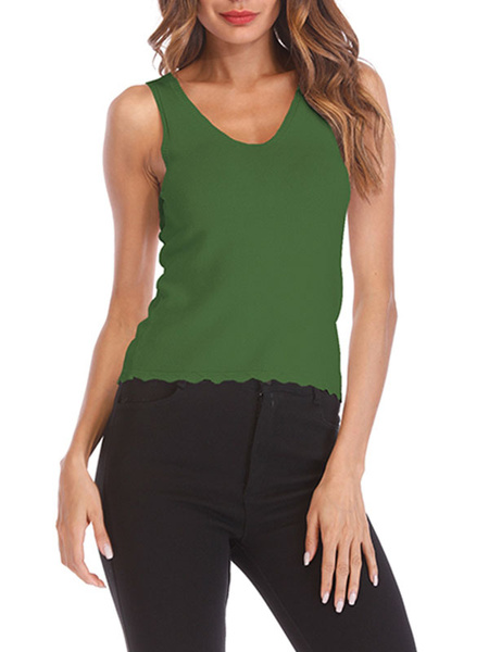 Milanoo Blusas sin mangas con cuello en V y gasa verde con cuello en V para mujer