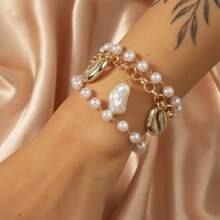 Pulsera de cadena con perla artificial