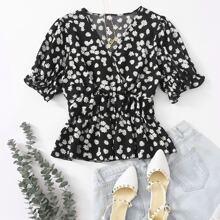 Bluse mit Gaensebluemchen Muster, V-Ausschnitt und Schosschen