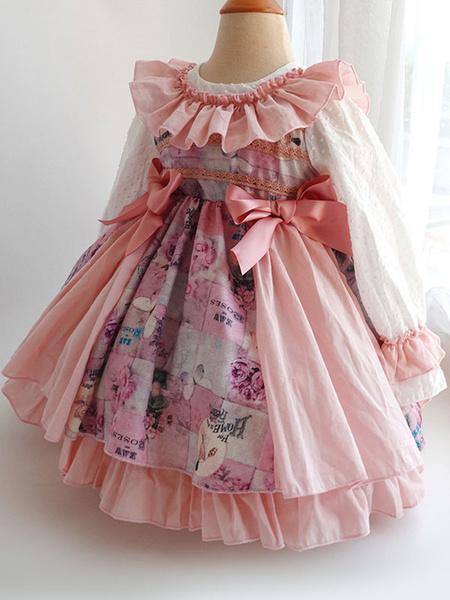 Milanoo Children\s Sweet Lolita Dress Headwear Pink Ruffles Polyester Long Sleeve Bow Kids One Piece Dress Hat