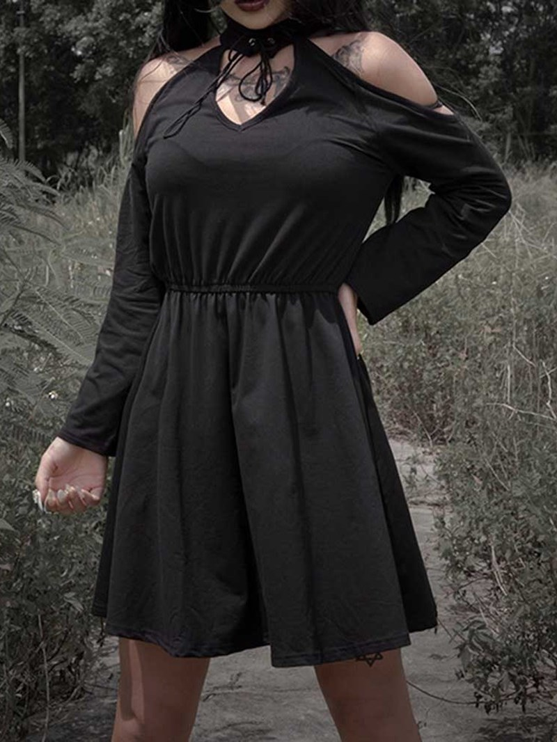 Ericdress Above Knee Long Sleeve Lace-Up A-Line Halloween Costume Dress