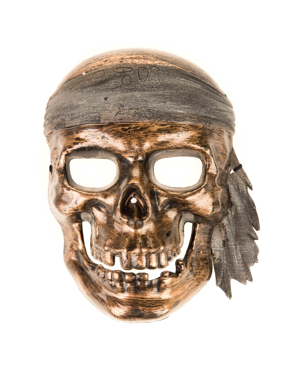 Kostuemzubehor Totenkopf Maske mit Stirnband kupfer