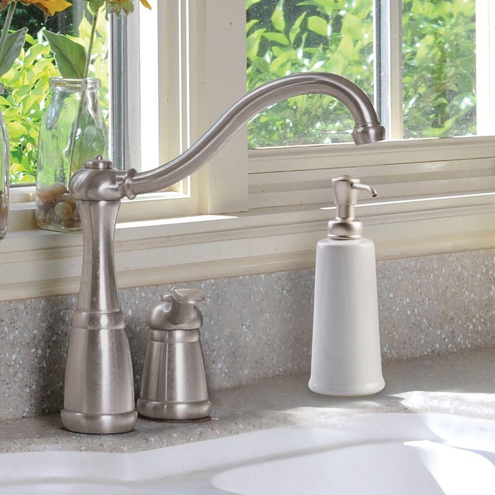 Ceramic Refillable Liquid Soap Dispenser Pump in White/Bronze, Set of 3, by mDesign