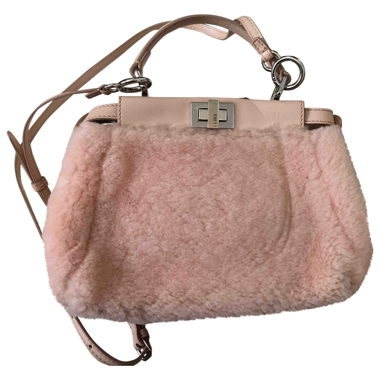 Fendi Peekaboo Handtasche in  Rosa Synthetikpelz