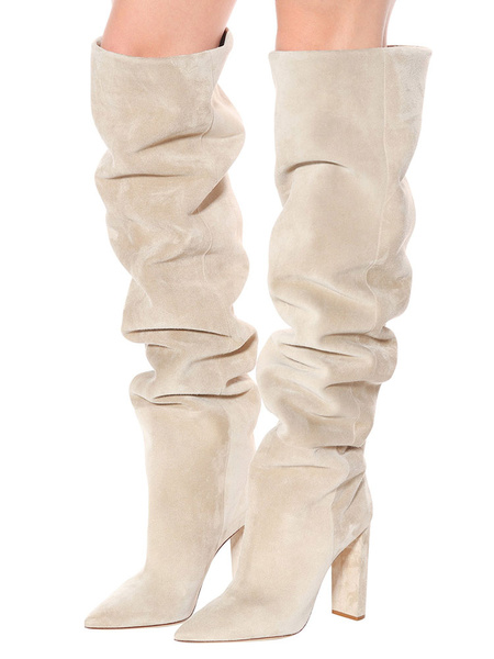 Milanoo Thigh High Boots Womens Suede Nap Pointed Toe Chunky Heel Wide Calf Over The Knee Boots