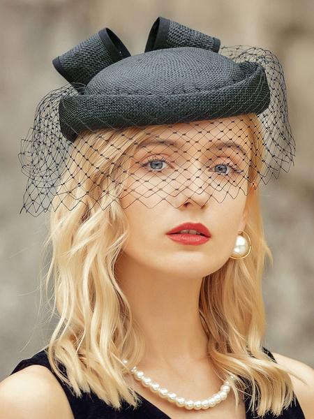 Milanoo Hats For Women Modern Polyester Polyester Fiber Black Hats