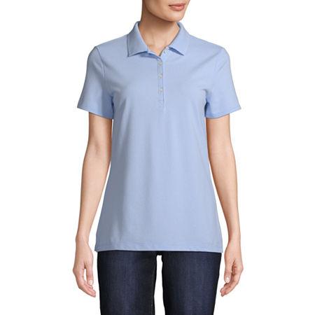 St. John's Bay Womens Short Sleeve Knit Polo Shirt, Small , Blue