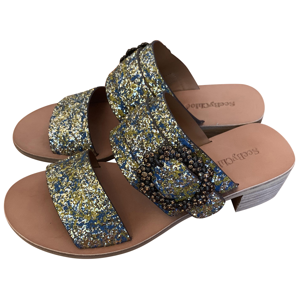 See By Chloé N Green Glitter Sandals for Women 38 EU
