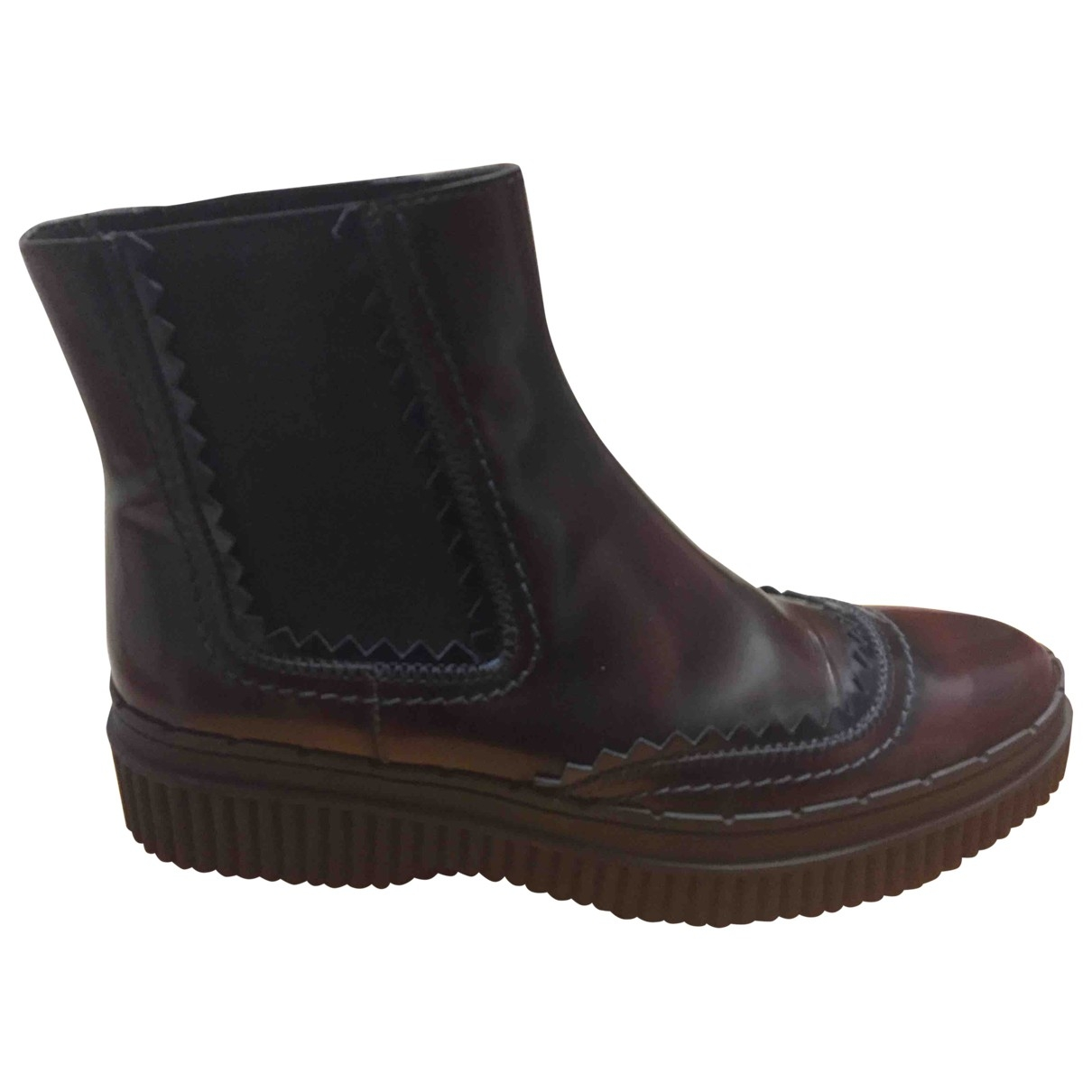 Tod's \N Burgundy Leather Ankle boots for Women 38 IT