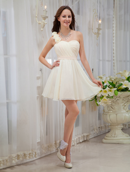 Milanoo Gold Champagne Bridesmaid Dress One-Shoulder Strapless Backless Flowers Chiffon Dress