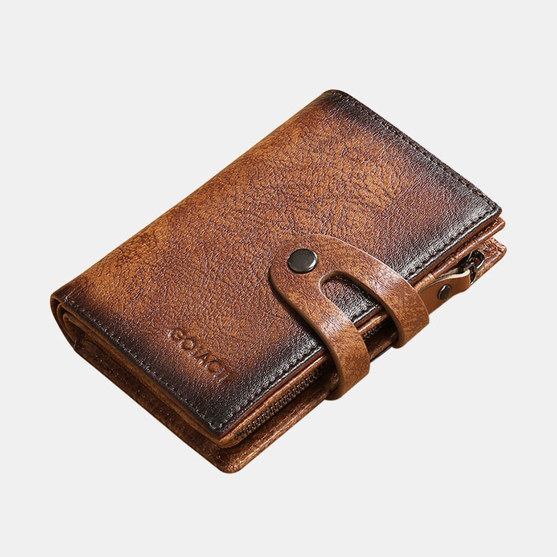 Men Genuine Leather RFID Anti-theft Multi-slot Retro Money Clip Foldable Card Holder Wallet