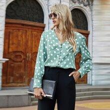 Bluse mit Punkten Muster, Perlen, Knopfen vorn und V-Kragen