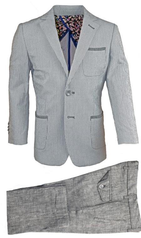 Mens 2 Button Flap Two Pocket Gray Linen Tonal Suit