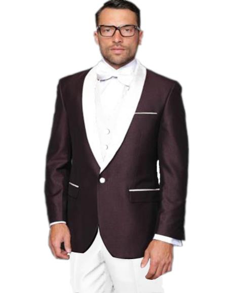 Alberto Nardoni Burgundy Plum And Navy Blue Lapel / Prom / Party Suit