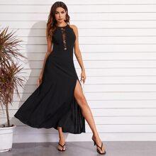 Split Back Sheer Lace Insert Split Thigh Halter Dress
